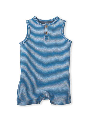Colored Organics Baby Boys Nile Short Sleeve Organic Romper - Soho Stripe - 12-18 Months