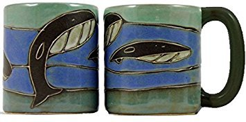 (One (1) MARA STONEWARE COLLECTION - 16 Oz Coffee Cup Collectible Dinner Mug - Whale Ocean Blue Design )