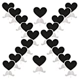 Dedoot Mini Chalkboards Signs with Stand, Pack of 20 Wood Heart Small Chalkboard Place Cards with Easel Stand, Perfect for Daily Home Decoration, Weddings, Party, Table Numbers, Food Signs - White
