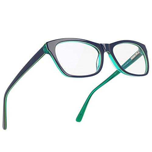 Magic Jing Blue Light Blocking Computer Gaming Glasses Anti Glare UV Protection Rectangle Eyeglasses for Men and Women (Blue/Green)