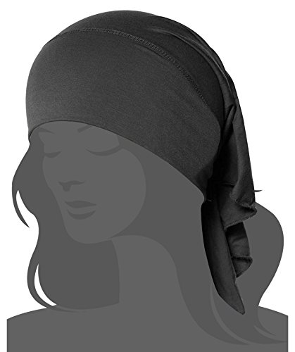 Women's Ruffle Chemo Hat Beanie Scarf, Turban Headwear for Cancer Patients Grey One Size