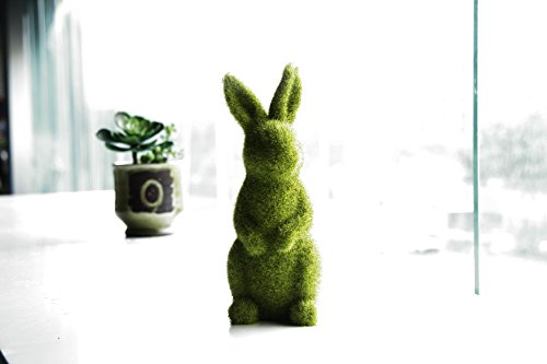 Easter Bunny Statues Furry Flocked Animal Resin Ornaments Rabbit for Home, Party, Office Desk, Garden, and Yard Decor (Standing, L)