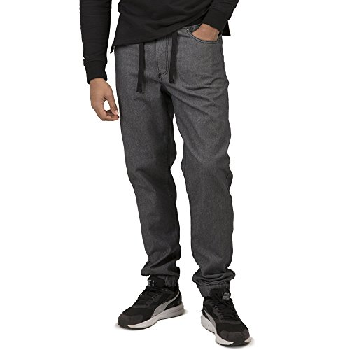 Vibes Gold Label Men's Gray Denim Rinse Washed Jogger Jeans Drawstring Rib Waistband