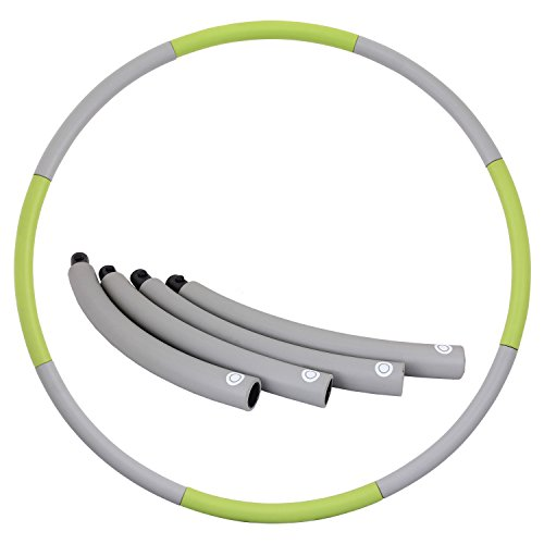 Weighted Hula Hoop 2lb for Adults for Exercise, Fitness, Fat Burning, and Lose Weight (Gray&Green)