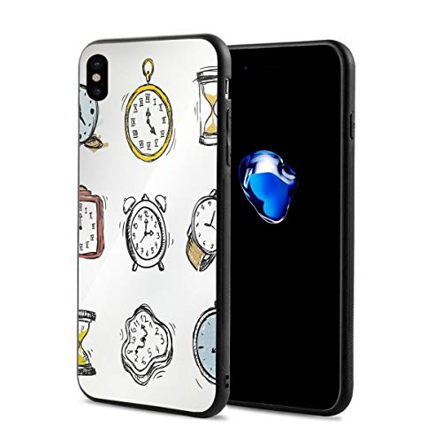 Compatible with iPhone X Case,an Assortment of Vintage Watches and Doodled Clocks Hand Drawn Illustration,Soft Rubber Phone Case Cover