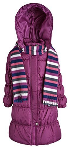 Sportoli Girls Hooded Warm Winter Long Puffer Bubble Coat with Matching Scarf - Juicy Plum (Size 10/12) - Girls Long Winter Coat