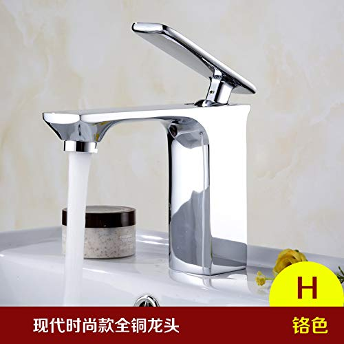 1 LHbox European-led water faucet basin of hot and cold temperature lowered basin full copper Bathroom Vanity basin waterfall faucet, chrome-colord square glass temperature control