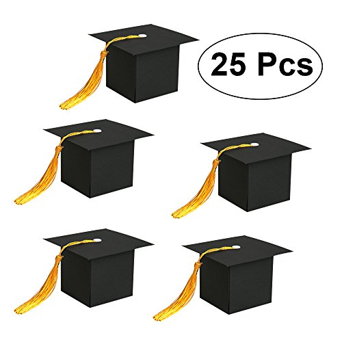 SHIYIXING 25Pcs Graduation decorations Graduation Gift Box Graduation Candy Boxes Chocolate Box for Graduation Party Favor (Black)