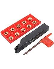 YONGTOKU Srapr1616H10 - Soporte de cuchilla de torno externo para torno, herramienta de torneado + 10 piezas Rpmt10T3Mo insertos de metal para sierra circular