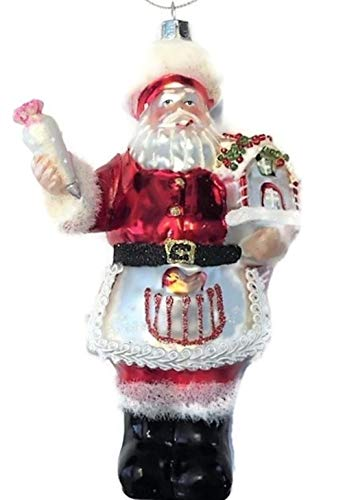 Robert Stanley Santa Claus Pastry Chef Blown Glass Christmas Ornament with Gingerbread House, Gifts for Bakers Bakery Decorations (Glass Santa Ornaments Claus)