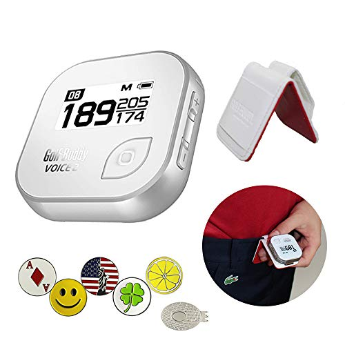 - GolfBuddy Voice 2 Golf GPS/Rangefinder Bundle with 1 Magnetic Hat Clip and 5 Ball Markers and Belt Clip (White)