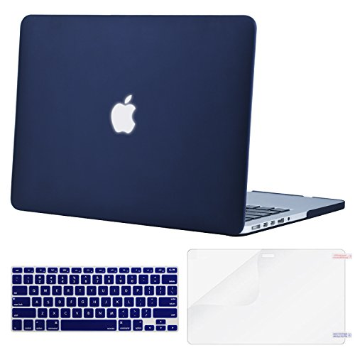 Mosiso Plastic Hard Case with Keyboard Cover with Screen Protector Only for MacBook Pro Retina 13 Inch No CD-Rom (A1502/A1425, Version 2015/2014/2013/end 2012), Navy Blue
