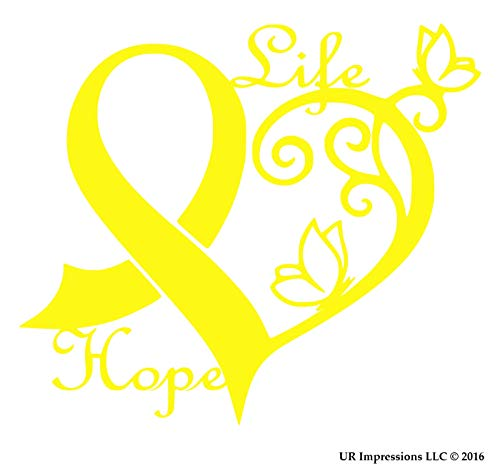 Impressions Ribbon - UR Impressions BYel Cancer Awareness Ribbon Heart Butterfly Vine - Life Hope Decal Vinyl Sticker Graphics Car Truck SUV Van Wall Window Laptop|Bright Yellow|6.4 X 5.5 Inch|URI442-BY