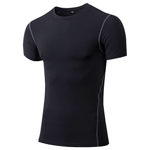 Panegy Men Compression Short Sleeve Shirts Moisture Wicking Fitness Workout Gym Tops
