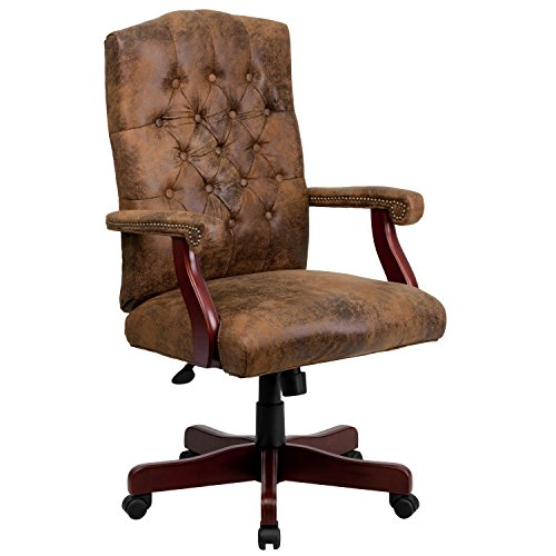 A Line Furniture Ultra Rustic Suede Button Tufted Mahogany Wood Adjustable Executive Swivel Office Chair (Rustic Mahogany)