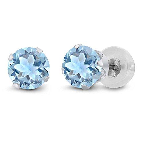 Gem Stone King 0.44 Ct Round 4mm Sky Blue Aquamarine 14K White Gold Stud Earrings ()