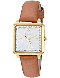 Women's 'Washington Square' Quartz Stainless Steel and Leather Casual Watch, Color:Brown (Model: KSW1339)