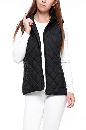 More Golooper Women's Vest-Lightweight Quilted High Collar Zip Vest Padded Gilet (Black, XL)