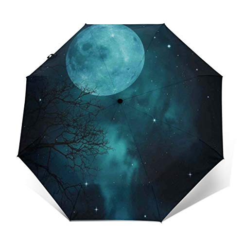 (Automatic Open Close tri-fold Windproof Travel umbrella,Moon On Starry Sky Universe Cosmos Space Themed Mystical Twilight Celestial Scenery,OuterPrint)