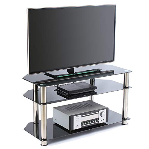 Rfiver Glass Corner TV Stand for Most 26 27 28 30 32 37 40 42 43 46 inch Plasma LCD Led OLED Flat/Curved Screen TVs, Black Tempered Glass and Chrome Tube, 3 Shelves TS1001