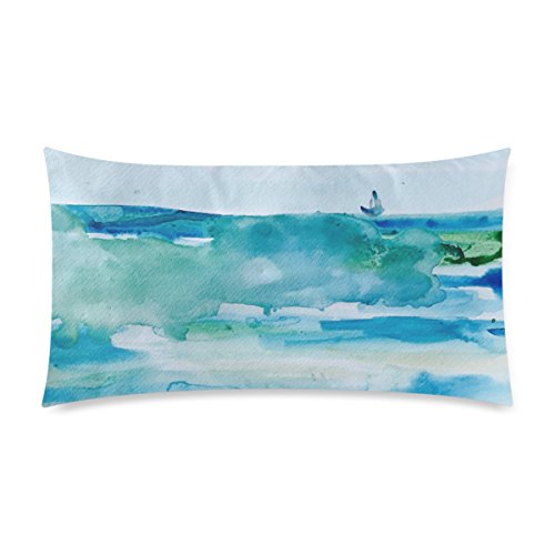 Customized Miami Beach Watercolor Personalized Pillowcases Zippered Pillow Covers 20 by 36 Inches Two (Club 50 Miami Halloween)