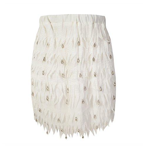 She'sModa Chiffon Feather Shape High-end Diamond Bead Women's Party Wedding Straight Mini Skirt S Size White