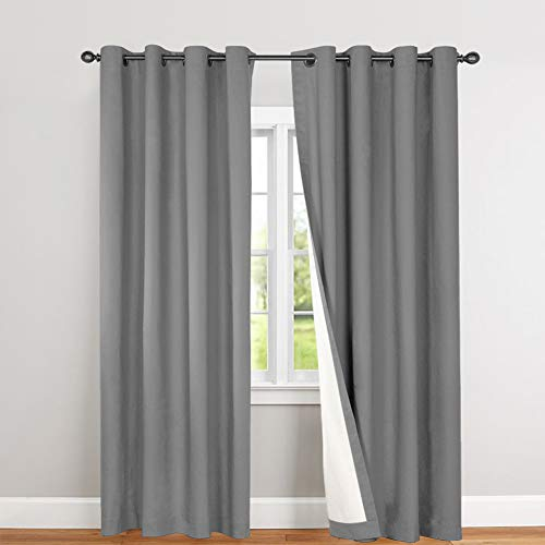 Blackout Curtains for Bedroom 84 inches Grey Thermal Insulated Room Darkening Drapes Sold Individually