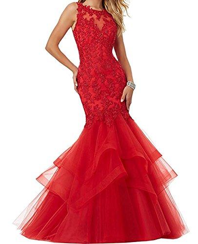 Abendmode Festkleid Tuell Promkleid Spitze Mermaid Damen Ivydressing Rot Abendkleider xYCqw0Bg