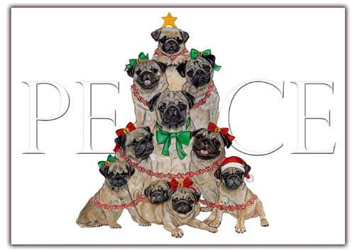Pug Christmas Cards Peace : 10 Holiday Cards with Red Envelopes - ADORABLE!