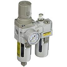 "PneumaticPlus SAU3010M-N03G 2 Piece Compressed Air Filter Regulator Lubricator Combination, 3/8"" Pipe Size, NPT-Manual Drain, Poly Bowl, 10 μm with Gauge"