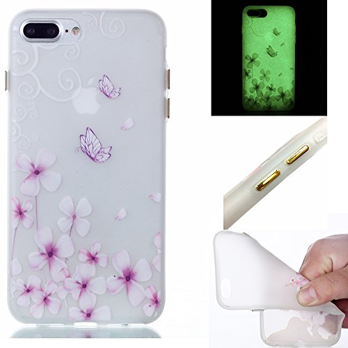 iPhone 7 Plus Case,Bernect Luminous Transparent Glow In The Dark Ultra Thin Fluorescence Pattern Soft TPU Flexible Case for iPhone 7 Plus (5.5 inch) +2pcs Luminous Dustplug-Butterfly Flower