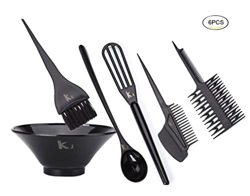 Healthcom Hairdressing Dyeing Tool Hairdressing Salon Hair Color Dye Bowl Comb Brushes Kit Set (6 PCS) by Healthcom
