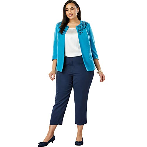 Jessica London Women's Plus Size Embroidered Pant Suit - Sea Blue Poppy Embroidery, 16 W