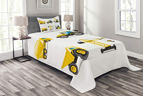 Lunarable Nursery Bedspread Set Twin Size, Cartoon Style Heavy Machinery Truck Crane Digger Mixer Tractor Construction, Decorative Quilted 2 Piece Coverlet Set with Pillow Sham, Yellow -  bed_40641_twin