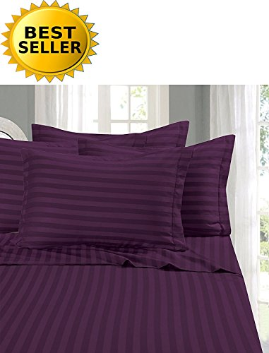 Elegant Comfort #1 Bed Duvet Cover Set on Amazon - Super Silky Soft - 1500 Thread Count Egyptian Quality Luxurious Wrinkle, Fade, Stain Resistant 3-Piece STRIPE Duvet Cover Set, Full/Queen, Purple (Full Cover Queen Duvet Purple)