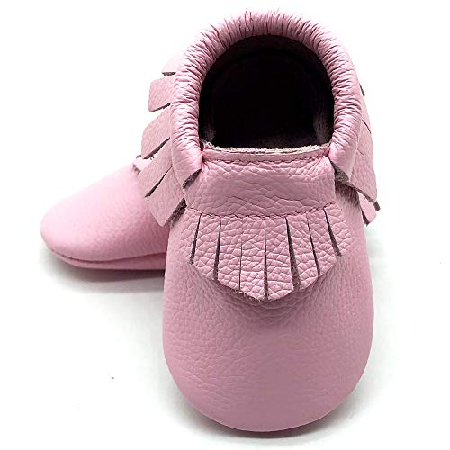 Moccasin Pink Kids - Owlowla Baby Moccasins Leather Soft Sole Newborn Crib Shoes for Boys and Girls (21pink,US5.5)