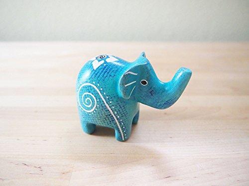 Kenya Handcrafted (Handcrafted African Blue Speckled Soapstone Elephant Sculpture Made in Kenya, Assorted Patterns)