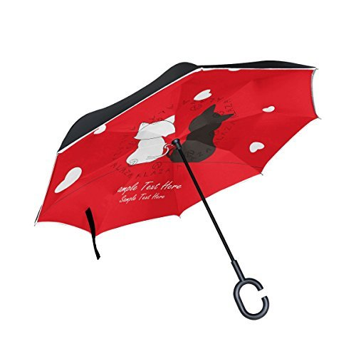Cheap OREZI Cute Black Cat and White Cat Reverse Inverted Inside Out Umbrella – Upside Down UV Protection Unique Windproof Red Umbrella,Reversible Folding Double Layer,Suitable for Golf,Car,Women and Men