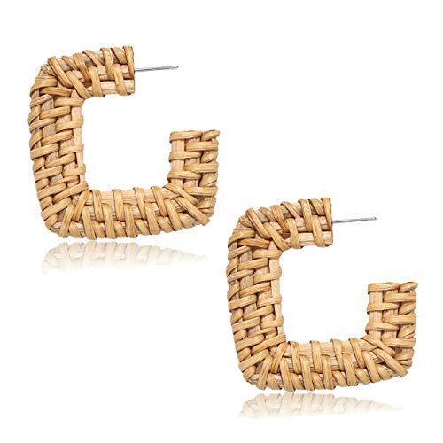 CEALXHENY Rattan Hoop Earrings Straw Wicker Braid Circle Earrings for Women Bohemia Handmade Lightweight Knit Earrings Studs for Girls (C Rectangle)