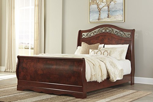 Ashley Full Sleigh Bed - Ashley Furniture Signature Design - Delianna Sleigh Headboard - Queen Size - Component Piece - Brown