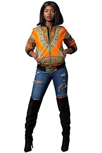 Jacket Donna Cappotti Autunno Giallo Cime Stampa Bomber Africano Casual Giacca Trenchcoat Zip Con Giacche Tops Manica Lunga Vintage Coat Primavera E Moda Outerwear xn8wxqC