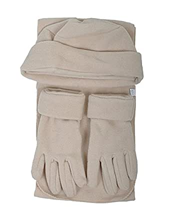 Women's Ivory Solid Polyester Fleece 3-Piece gloves scarf