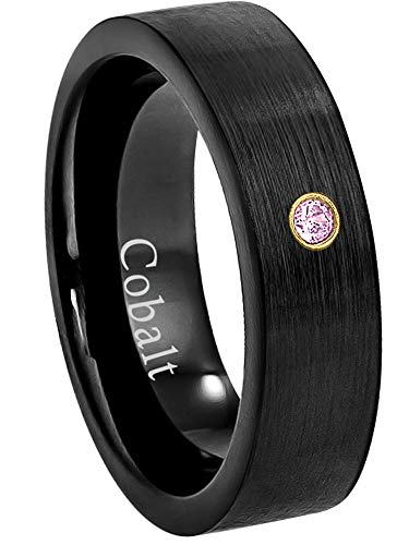 - Jewelry Avalanche 6MM Comfort Fit Brushed Black Ion Pipe Cut Women's Cobalt Chrome Wedding Band - 0.07ct Pink Tourmaline Cobalt Ring - October Birthstone Ring -10