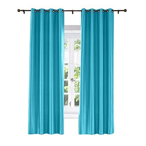 ChadMade Elegant Vintage Polyester Cotton Silk Solid Curtain Lake Blue 120