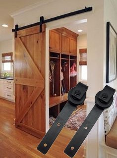 - 9sparts 6.6 Feet ft 2m Black Country Style European American Carbon Steel Sliding Barn Door Hardware Track Rail Kit for Wood and Concrete Wall 16