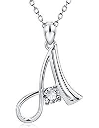 """<span class=""""a-offscreen"""">[Sponsored]</span>Initial 26 Letters Alphabet with Cubic Zirconia Pendant S925 Sterling Silver Necklace"""