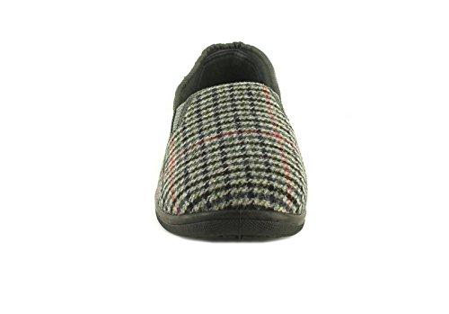 Hommes/Hommes Grises Motif Carreaux Double Gousset Élastique Chaussons Facile À Enfiler - Check Gris - TAILLES UK 6-11