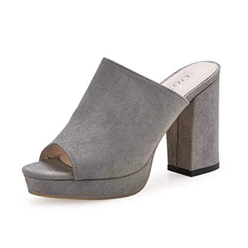 Femmes Peep Carrés Sandales Gris Claquettes Été Toe Tongs Chaussure Talons Ouvert Mules Hauts Bout Mode nSxzxt