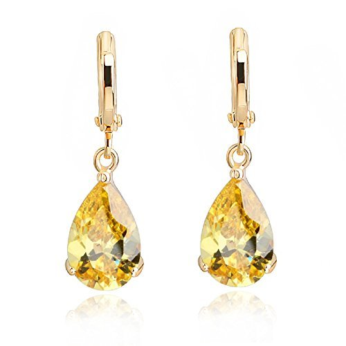 Teardrops Dangle Earrings with Yellow Simulated Citrine Zirconia Crystals18 ct Gold Plated for Women fp2fJC7k