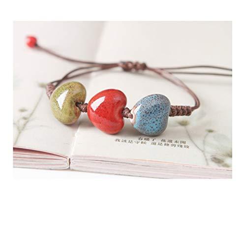 Waxplle Jewelry Ceramic Porcelain Bracelet Handmade Colorful Unisex Geometric Shape Chinese Style (Heart-Shaped)